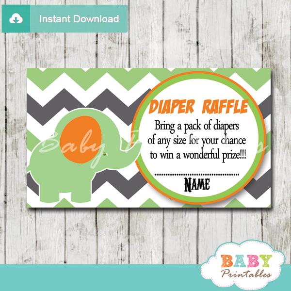 Green Elephant Baby Shower Diaper Raffle Tickets