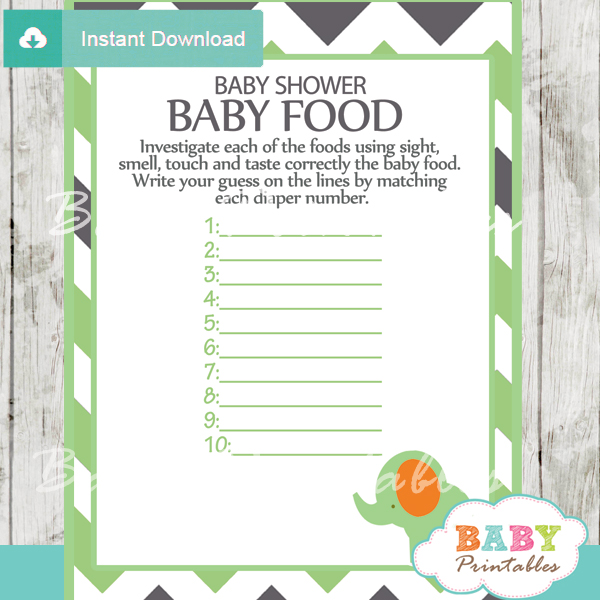 Green Elephant Baby Shower Games Bundle D101 Baby