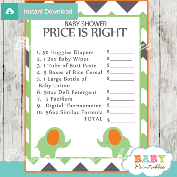 green elephant baby shower games bundle d101 baby printables