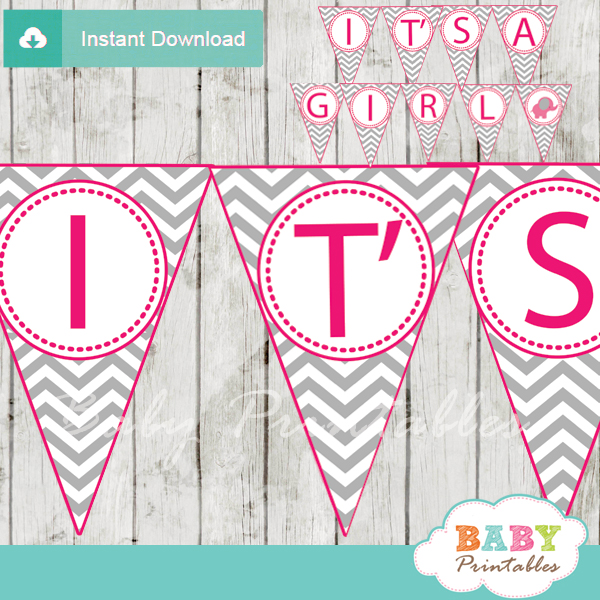 graphic about Printable Elephant Baby Shower identified as Incredibly hot Crimson Elephant Youngster Shower Banner - D103