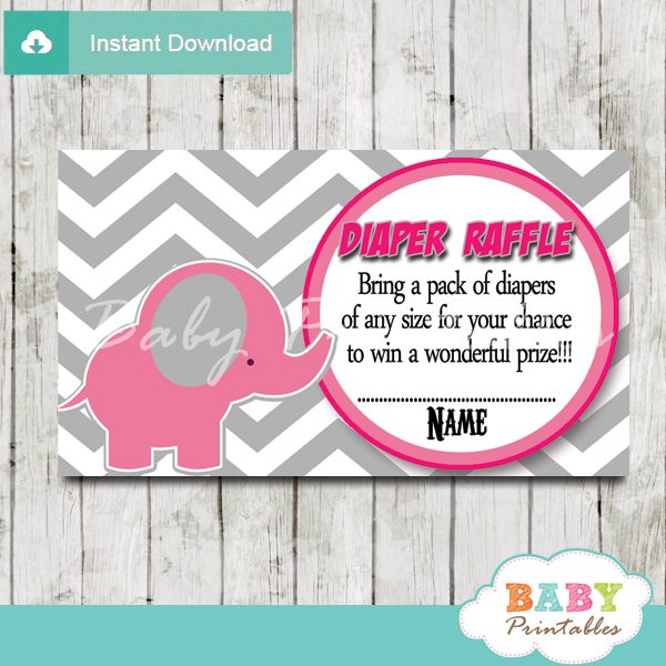 printable pink elephant chevron diaper raffle tickets pdf