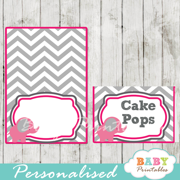 pink printable food labels for baby shower elephant
