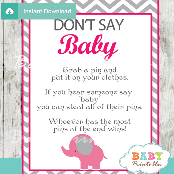 Hot Pink Elephant Baby Shower Games Bundle – D103