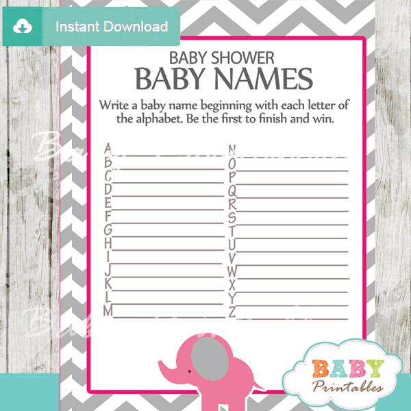 Hot Pink Elephant Baby Shower Games Bundle D103