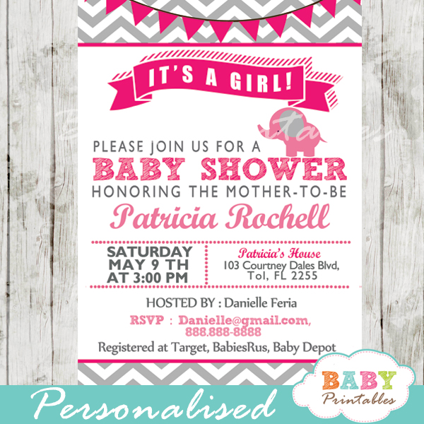 Hot pink elephant baby shower invitation card d103 baby printables hot pink printable elephant baby shower invitations ideas filmwisefo