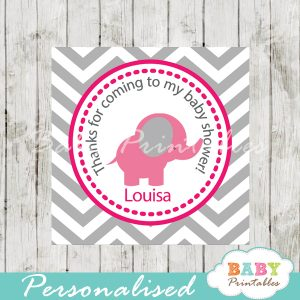 printable custom pink elephant baby shower gift tags