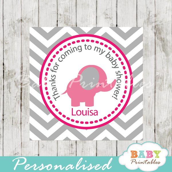 printable custom pink elephant baby shower gift tags