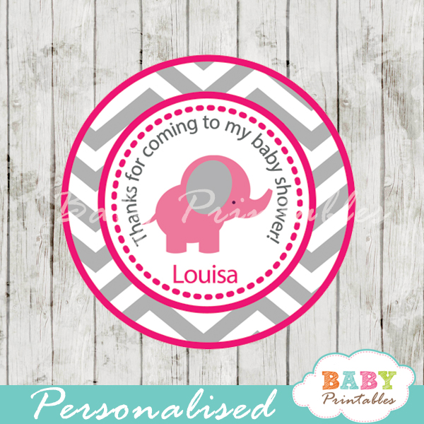 printable custom pink elephant baby shower labels toppers