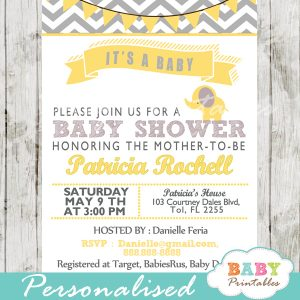 grey yellow printable elephant baby shower invitations gender neutral ideas