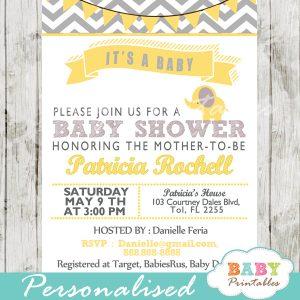 grey yellow printable elephant baby shower invitations gender neutral ideas