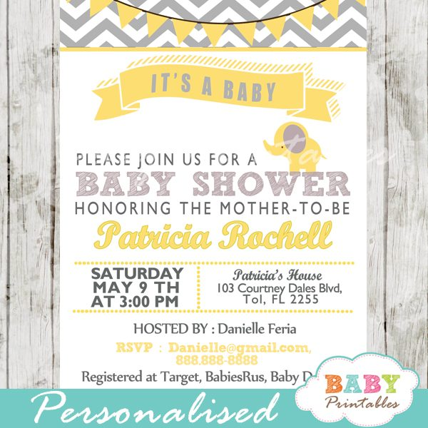 Yellow Elephant Baby Shower Invitation Card D104