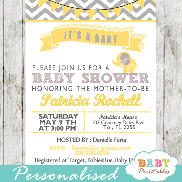 Yellow elephant baby shower invitation card d104 baby printables grey yellow printable elephant baby shower invitations gender neutral ideas filmwisefo