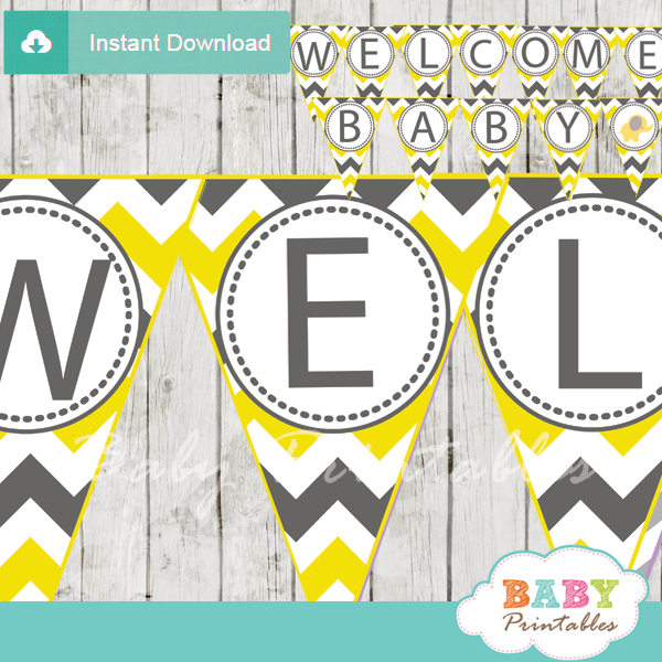 photo relating to Baby Shower Banner Printable known as Yellow Elephant Kid Shower Banner - D104