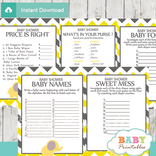 printable yellow elephant baby shower games package