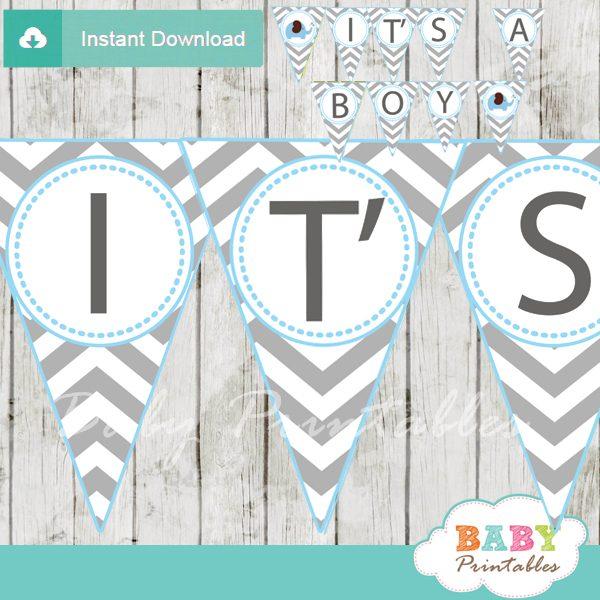 printable elephant baby shower boy banner