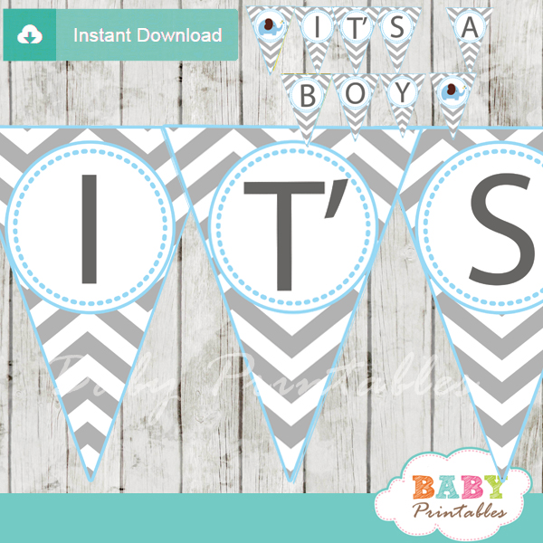 printable elephant baby shower boy banner