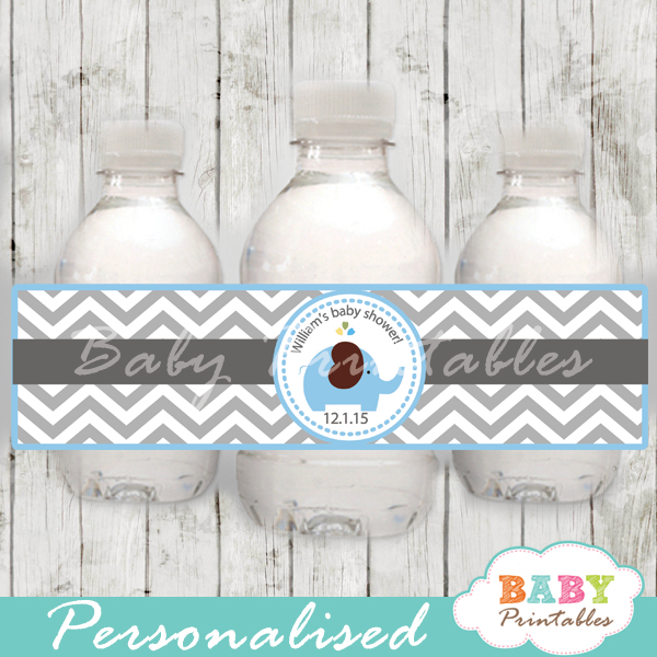 custom elephant theme baby shower bottle wrappers