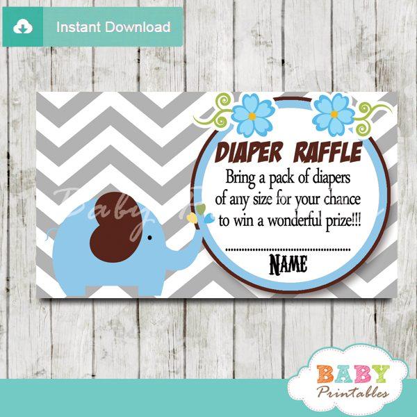 printable blue elephant chevron diaper raffle tickets pdf