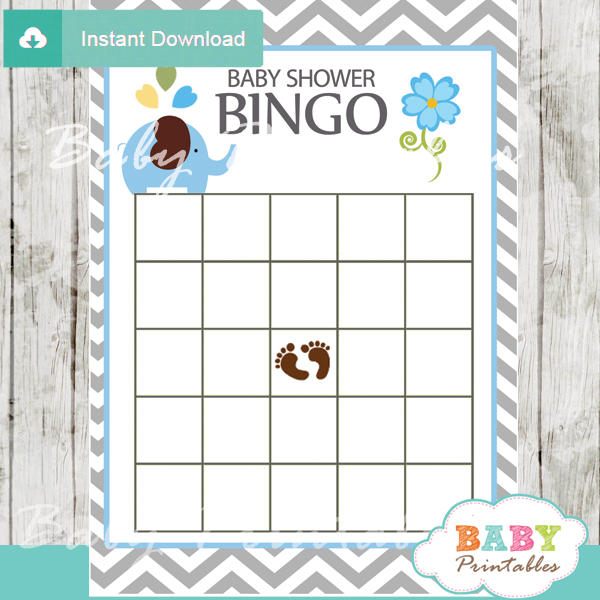 bingo baby shower games printable cards