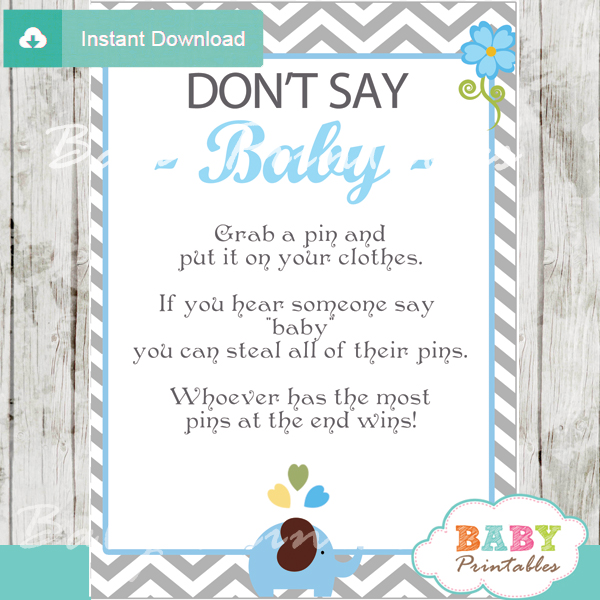 Blue Elephant Baby Shower Games D105 Baby Printables