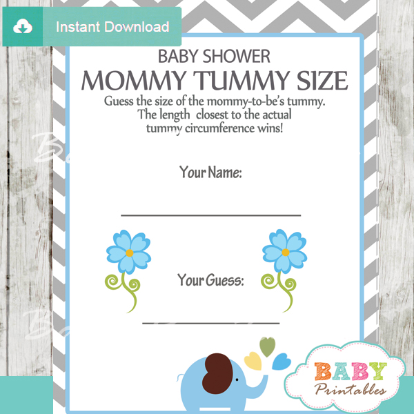 105-Elephant-Baby-Shower-Games-Tummy-size-blue-grey-chevron Baby Boy Shower Games Pinterest