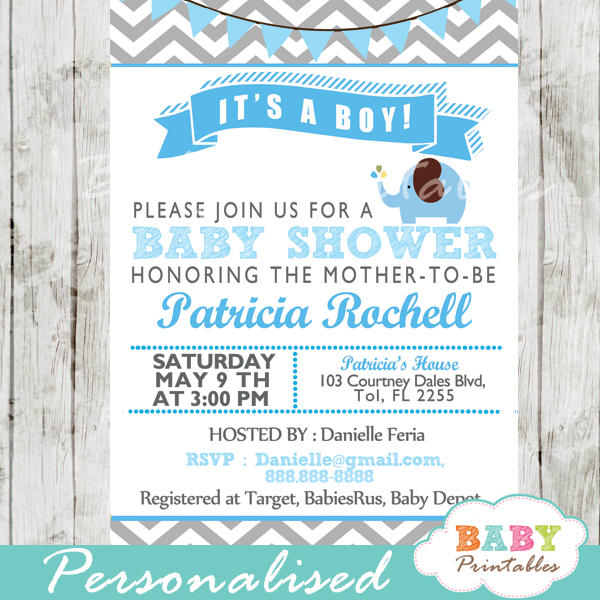 Blue Elephant Baby Shower Invitation Card D105