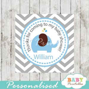 printable custom blue elephant baby shower gift tags