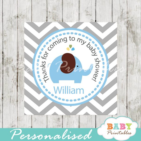 photo relating to Printable Baby Shower Labels named Blue Elephant Youngster Shower Sq. Labels - D105