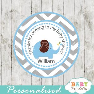 blue gray elephant baby shower labels