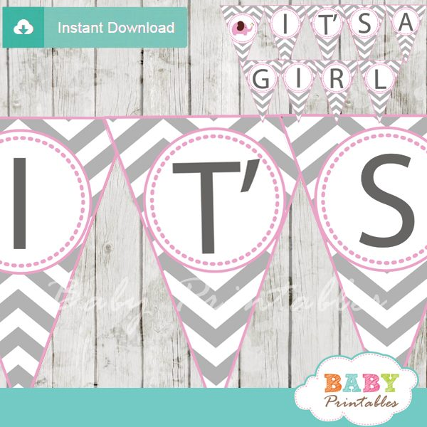 it's a girl printable elephant baby shower banner