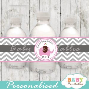 personalized pink elephant baby shower bottle wrappers