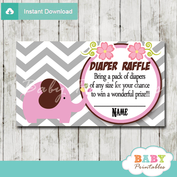 printable pink elephant chevron diaper raffle tickets