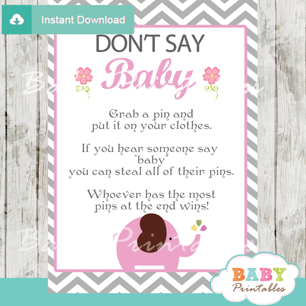 Pink Elephant Baby Shower Games Bundle - D106 - Baby Printables