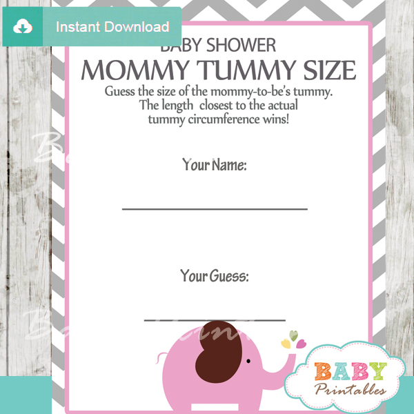 Pink Elephant Baby Shower Games Bundle D106 Baby