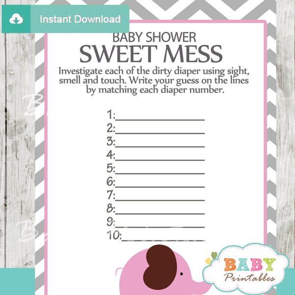 pink elephant baby shower games bundle  u2013 d106