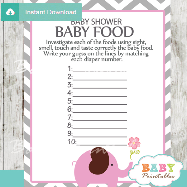 Pink Elephant Baby Shower Games Bundle - D106 - Baby ...