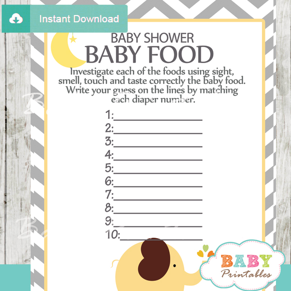 Yellow Elephant Baby Shower Games Bundle D107