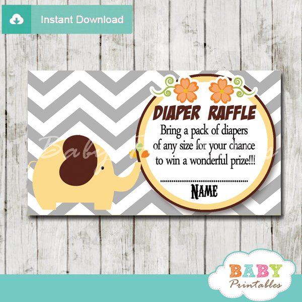 printable yellow elephant chevron diaper raffle tickets pdf