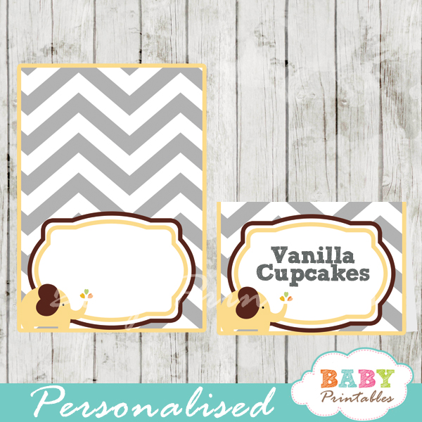 custom printable food place cards for baby shower elephant yellow brown