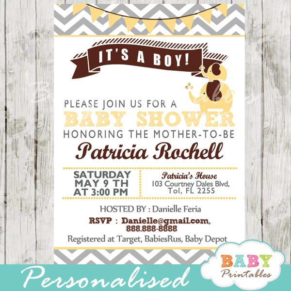 photograph relating to Printable Elephant Baby Shower titled Yellow Elephant Boy or girl Shower Invitation Card - D107