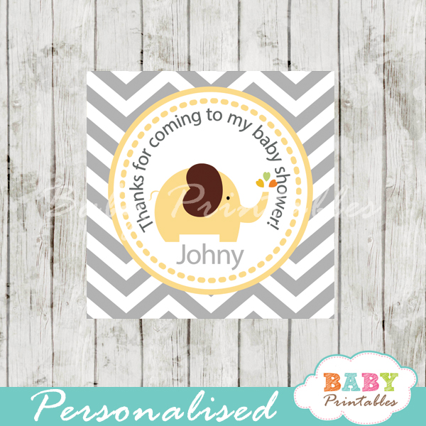 printable yellow brown elephant baby shower gift labels quare