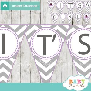 printable purple elephant Baby Shower Pennant Banner diy