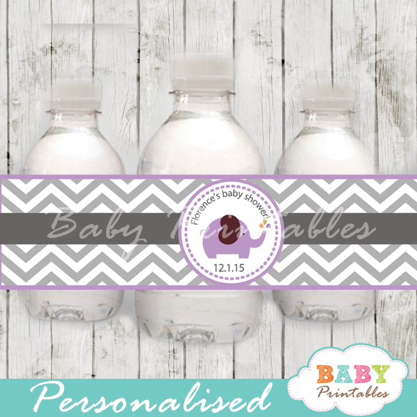 personalized purple elephant baby shower bottle wrappers
