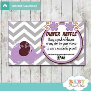 printable purple elephant chevron diaper raffle tickets
