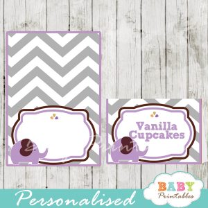custom printable food place cards for baby shower elephant purple