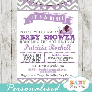 purple personalized printable elephant baby shower invite