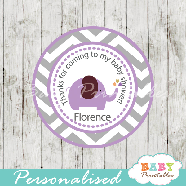 personalized purple elephant baby shower tags