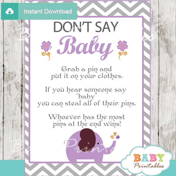 photograph about Don T Say Baby Game Printable identified as Lavender Elephant Kid Shower Online games - D108 - Kid Printables