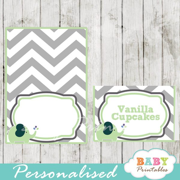 custom printable food place cards for baby shower elephant lime green