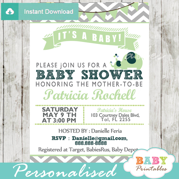 Lime Green Elephant Baby Shower Invitation Card D109